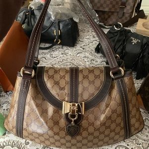 Auth Gucci Coated canvas hang charm shoulder bag